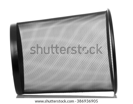 Empty metal basket for waste paper isolated on white background. - stock photo