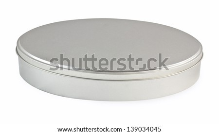 Empty metal box isolated on white - stock photo