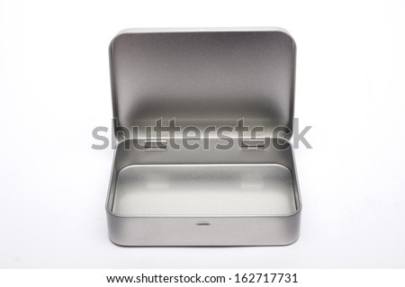 Empty metal box on white background. - stock photo