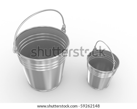 Empty metal bucket.  Isolated on a white background - stock photo
