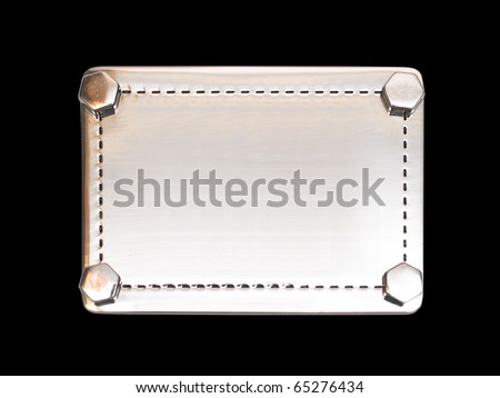 empty metal plate-label bolted bolts around the edges on a black background - stock photo