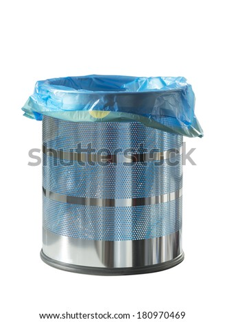 Empty metal recycle bin isolated on white, clipping path - stock photo
