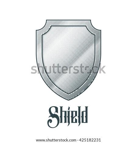 Empty metal shield. - stock photo