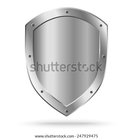 Empty metal shield isolated. Raster version illustration. - stock photo