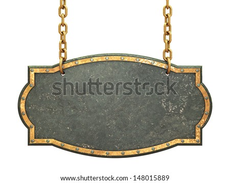 Empty metal signboard hanging on brass chains , isolated on white