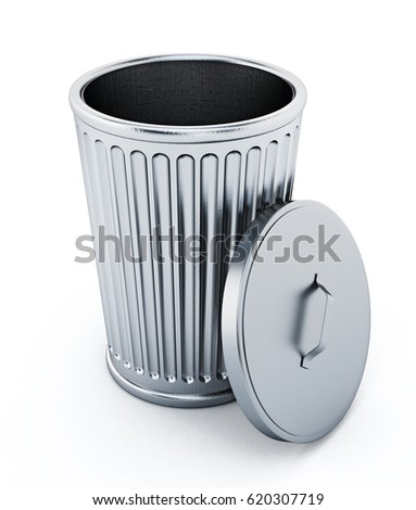 empty metal trash bin isolated on white background 3d