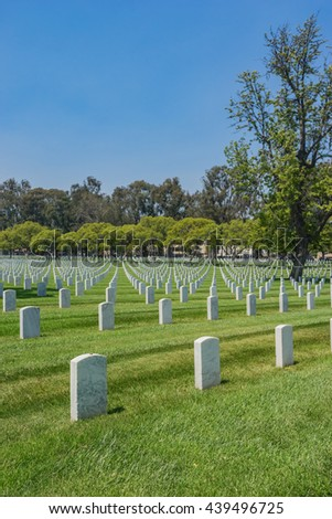 Empty military cemetery in Los Angeles of southern California. - stock photo