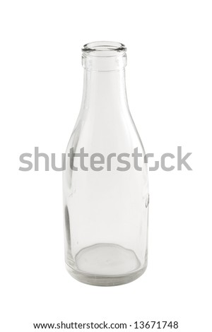 Empty Milk bottle isolated with clipping path - stock photo