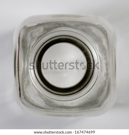 Empty milk bottle top view - stock photo