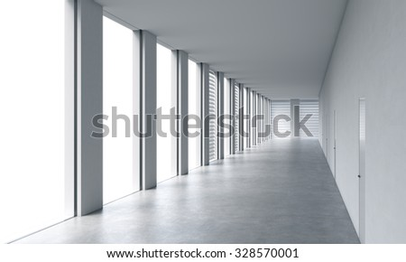 Empty modern bright clean interior of an open space office. Huge panoramic windows with white copy space and white walls. A concept of luxury space for legal services. 3D rendering. - stock photo