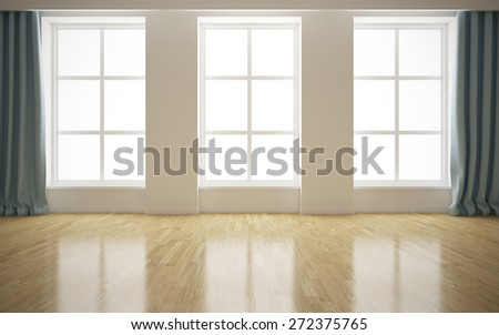 Empty modern bright interior background. 3D rendering - stock photo
