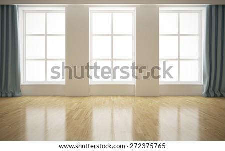 Empty modern bright interior background. 3D rendering - stock photo