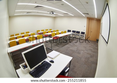 Empty modern classroom. Fish-eye photo - stock photo