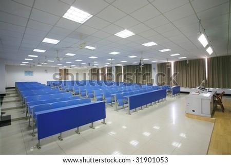 empty modern classroom interior - stock photo