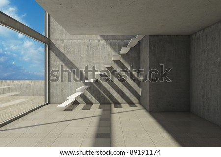 Empty modern hall with stairs