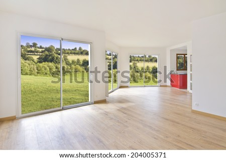 Empty modern house interior, countryside view