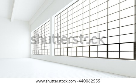 Empty modern industrial expo room huge panoramic windows,painted white wood floor,clean walls.3D rendering.Generic design interior contemporary building.Open space business conference hall.Horizontal