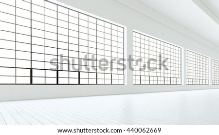 Empty modern industrial room with huge panoramic windows,painted white wood floor,blank walls.3D rendering.Generic design interior contemporary building.Open space business conference hall.Horizontal