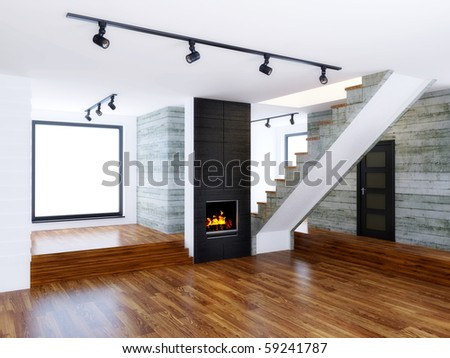 empty modern interior room with concrete wall - stock photo