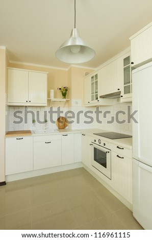 empty  modern kitchen in antique rustique style - stock photo