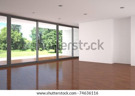 empty modern living room parquet floor - stock photo