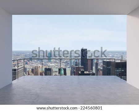 Empty modern lounge area of fancy Manhattan office. - stock photo