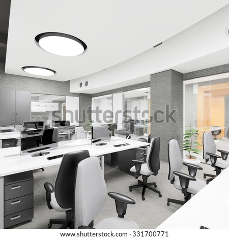 Empty modern office interior work place visualization  - stock photo