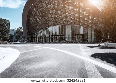 empty, modern square and museum in modern city - stock photo