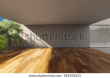 Empty modern terrace with timber floor - stock photo