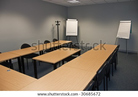 empty modern test classroom or business meeting room - stock photo