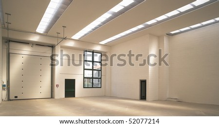 empty modern warehouse - stock photo