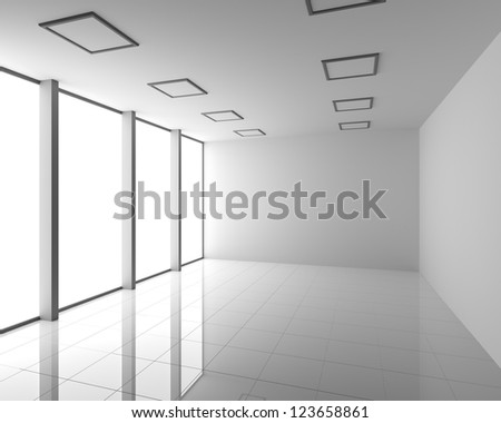 Empty Modern White Interior with Big Windows - stock photo