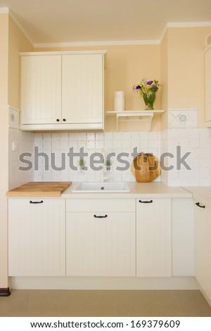 empty  modern white kitchen in antique rustique style - stock photo