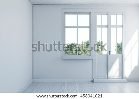 Empty monochromatic white room with hardwood floor and entrance door leading onto a garden, light bright with sunlight. 3d Rendering. - stock photo