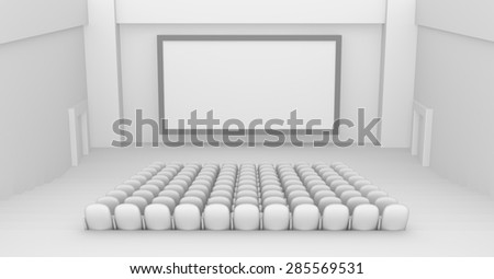 Empty Movie Theater interior with blank screen  - stock photo