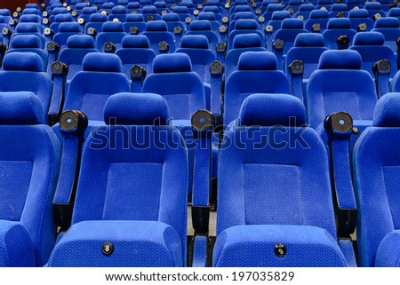 Empty movie theater with Blue seats - stock photo