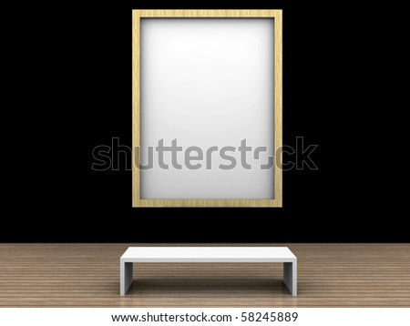 empty museum room with frame for text or picture - stock photo