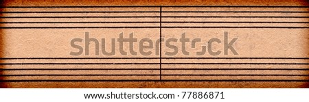 empty music notes on old paper sheet, to use for the background - stock photo