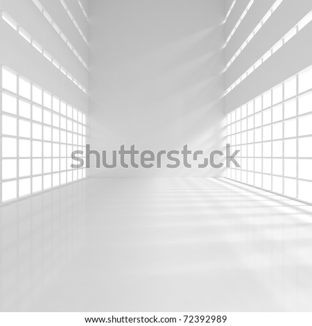 Empty Narrow Room - 3d illustration - stock photo