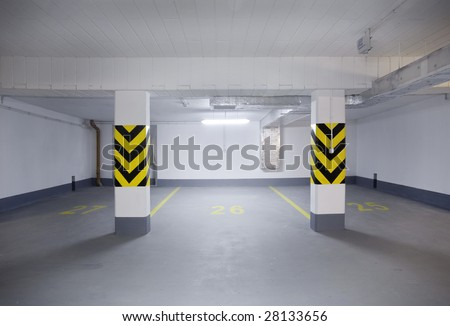 empty new garage - stock photo