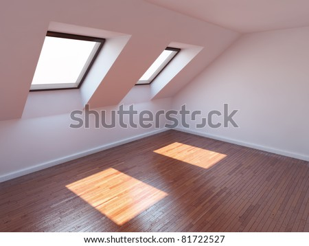 Empty new room with mansard windows