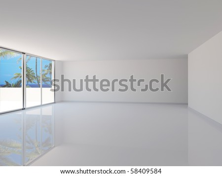 Empty new room with view of the sea - stock photo