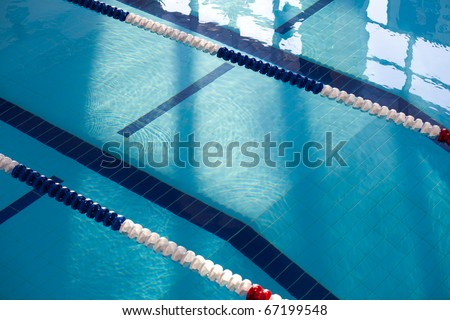 Empty new school swimming pool top view - stock photo
