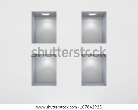 Empty niches.3d rendered. - stock photo