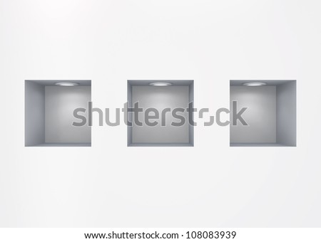 Empty niches.Isolated on white.3d rendered. - stock photo