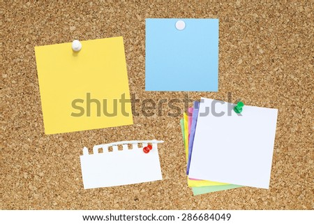 Empty Note Papers on Bulletin Board - stock photo