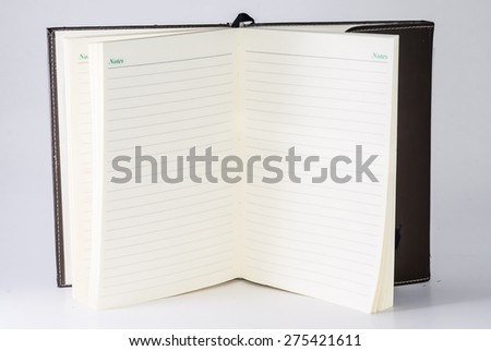 Empty notebook on a white background
