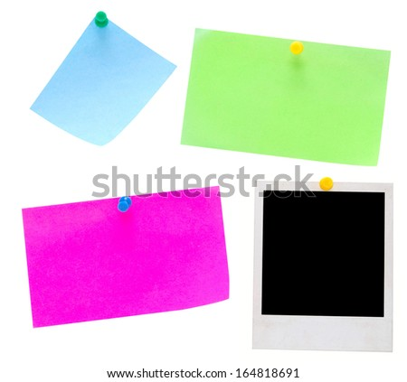 empty notes and photo frame on white background