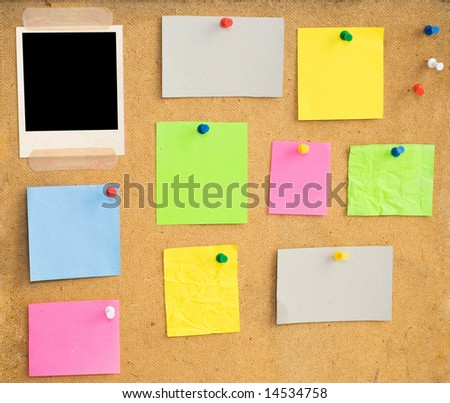 empty notes on wood background - stock photo