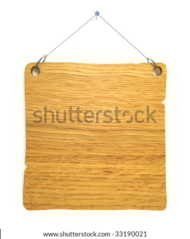 Empty notice board made of old wood hanging on a nail - stock photo